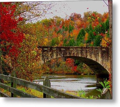 Autumn Bridge 1 Metal Print by Kathy Long