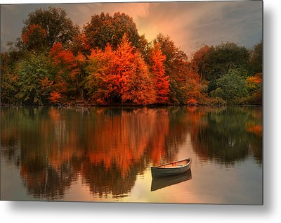 Autumn Canoe Metal Print by Robin-Lee Vieira