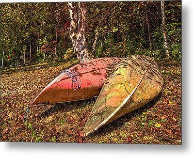 Autumn Canoes Metal Print by Debra and Dave Vanderlaan