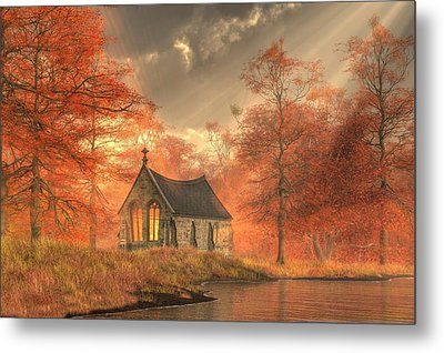 Autumn Chapel Metal Print