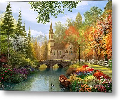 Autumn Church Metal Print