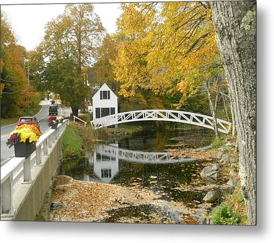 Autumn Colors At Somesville Bridge Mount Desert Island Maine Metal Print by Lena Hatch