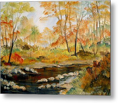 Autumn Colors By The River Metal Print by Dorothy Maier