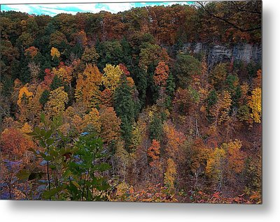 Metal Print featuring the photograph Autumn Colors In Taughannock State Park Ithaca New York by Paul Ge