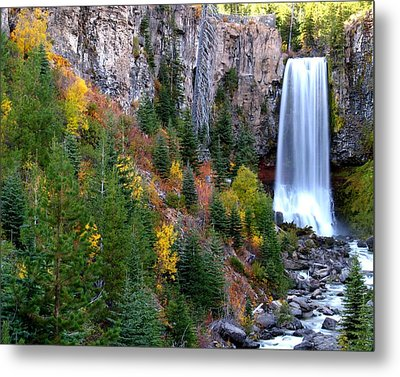 Metal Print featuring the photograph Autumn Colors Surround Tumalo Falls by Kevin Desrosiers