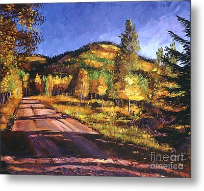 Autumn Country Road Metal Print by David Lloyd Glover