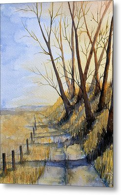 Metal Print featuring the painting Autumn Country Road by Rebecca Davis