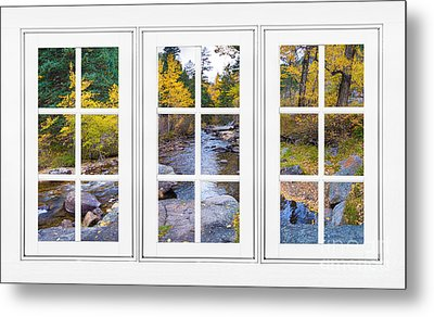 Autumn Creek White Picture Window Frame View Metal Print by James BO  Insogna