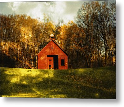Autumn Day On School House Hill Metal Print by Denise Beverly