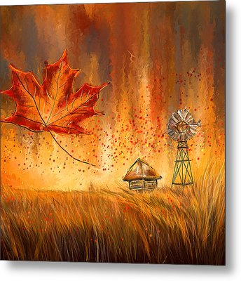 Autumn Dreams- Autumn Impressionism Paintings Metal Print by Lourry Legarde