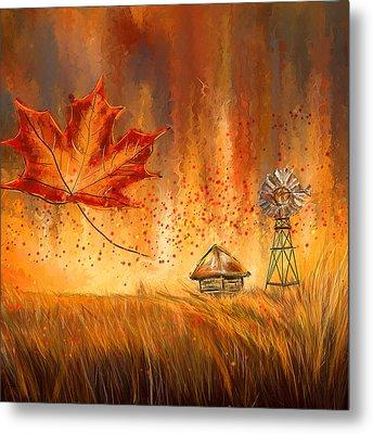 Autumn Dreams- Autumn Impressionism Paintings Metal Print