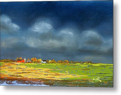 Metal Print featuring the painting Autumn Farm by William Renzulli