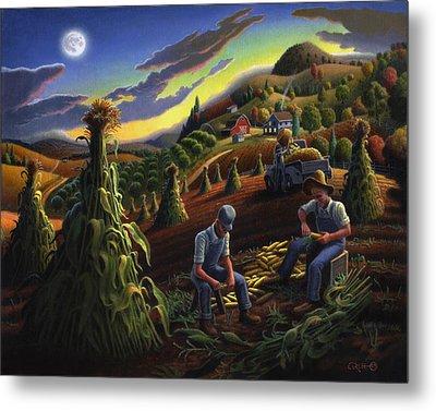 Autumn Farmers Shucking Corn Appalachian Rural Farm Country Harvesting Landscape - Harvest Folk Art Metal Print by Walt Curlee