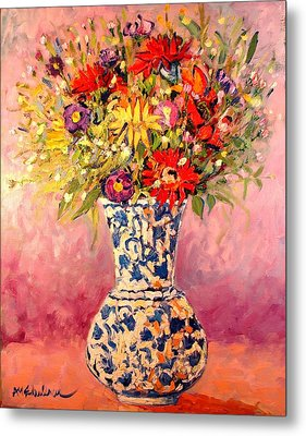 Metal Print featuring the painting Autumn Flowers by Ana Maria Edulescu