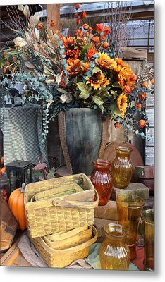 Autumn Flowers And Baskets Metal Print by Patrice Zinck