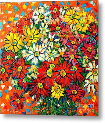 Autumn Flowers Colorful Daisies  Metal Print by Ana Maria Edulescu