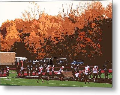 Autumn Football With Cutout Effect Metal Print by Frank Romeo