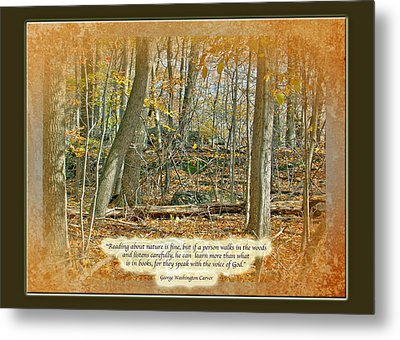 Autumn Forest - George Washington Carver Quote Metal Print by Mother Nature