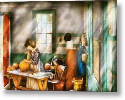 Autumn - Halloween - Carving A Pumpkin Metal Print by Mike Savad