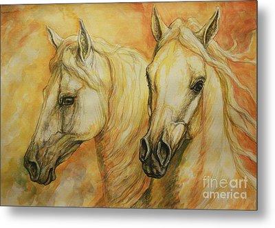 Autumn Horses Metal Print by Silvana Gabudean Dobre