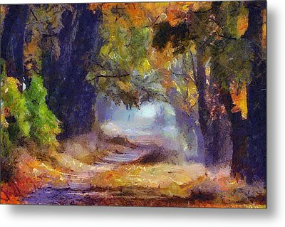 Metal Print featuring the painting Autumn In Forest by Georgi Dimitrov