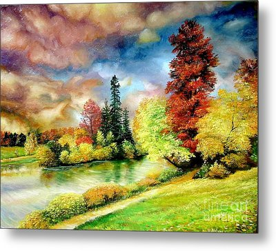 Metal Print featuring the painting Autumn In Park by Sorin Apostolescu
