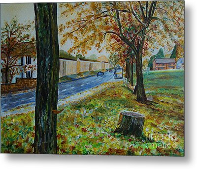 Autumn In South Road - Painting Metal Print