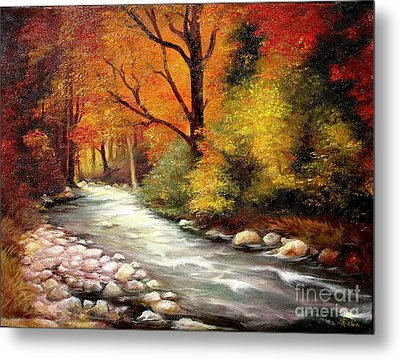 Metal Print featuring the painting Autumn In The Forest by Sorin Apostolescu
