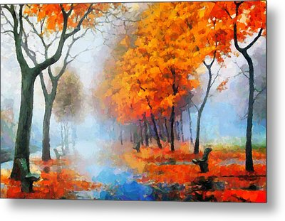 Autumn In The Morning Mist Metal Print by Georgiana Romanovna