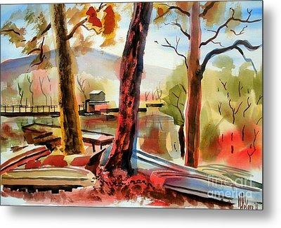 Autumn Jon Boats I Metal Print by Kip DeVore