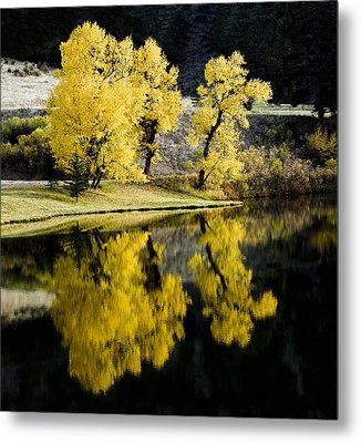 Autumn Lake Reflection Metal Print by Patrick Derickson