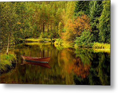 Autumn Lake With Boat Metal Print