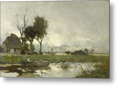 Autumn Landscape, Johan Hendrik Weissenbruch Metal Print by Litz Collection