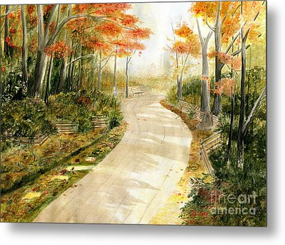 Autumn Lane Metal Print by Melly Terpening