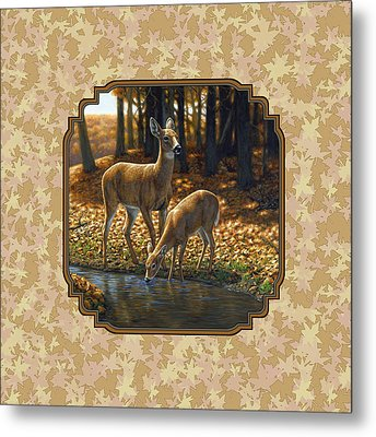 Autumn Leaves Doe And Fawn Pillow And Duvet Cover Metal Print