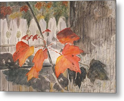 Autumn Leaves On Belmont St Metal Print
