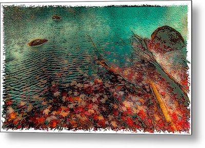 Autumn Leaves On Cary Lake - Abstract Metal Print