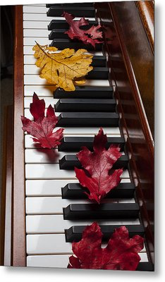 Autumn Leaves On Piano Metal Print by Garry Gay
