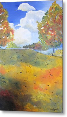Metal Print featuring the painting Autumn Leaves Panel 2 Of 2 by Gary Smith