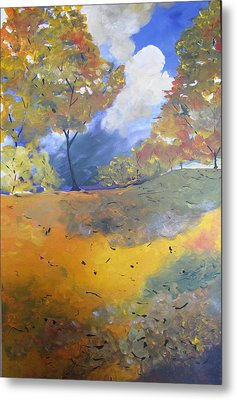 Metal Print featuring the painting Autumn Leaves Panel1 Of 2 Panels by Gary Smith