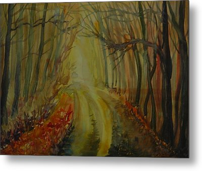Metal Print featuring the painting Autumn Light by Anna  Duyunova