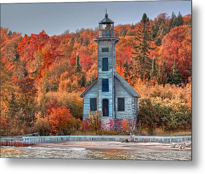 Autumn Lighthouse Metal Print