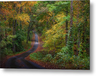 Autumn Mountain Road Metal Print by William Schmid