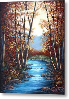 Autumn Mountain Stream  Metal Print by Fran Brooks