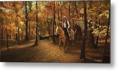 Autumn On Greensfelder Trail Metal Print by Don  Langeneckert