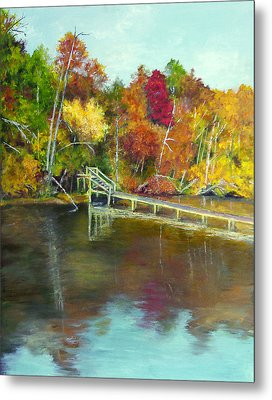Metal Print featuring the painting Autumn On The James by Sandra Nardone