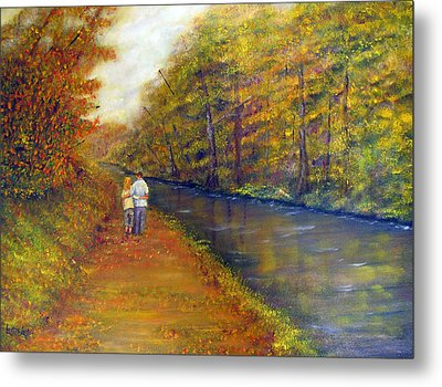Autumn On The Towpath Metal Print