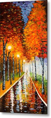 Autumn Park Night Lights Palette Knife Metal Print by Georgeta  Blanaru