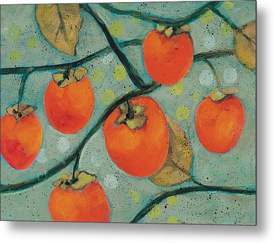 Autumn Persimmons Metal Print by Jen Norton