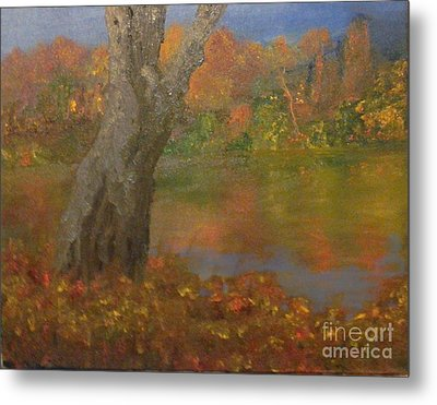 Metal Print featuring the painting Autumn Pond by Holly Martinson